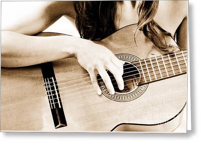 Music Greeting Cards - The Beauty of a Classical Guitar  Greeting Card by Steven  Digman