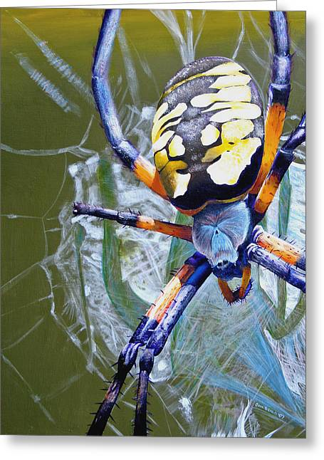 Spider Paintings Greeting Cards - The Beauty of Writing Greeting Card by Cara Bevan