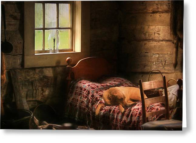 The Bed Warmer Greeting Card by Lori Deiter