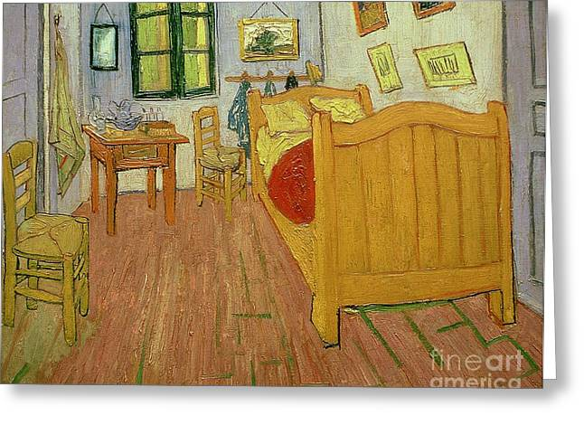 Floorboards Greeting Cards - The Bedroom Greeting Card by Vincent van Gogh