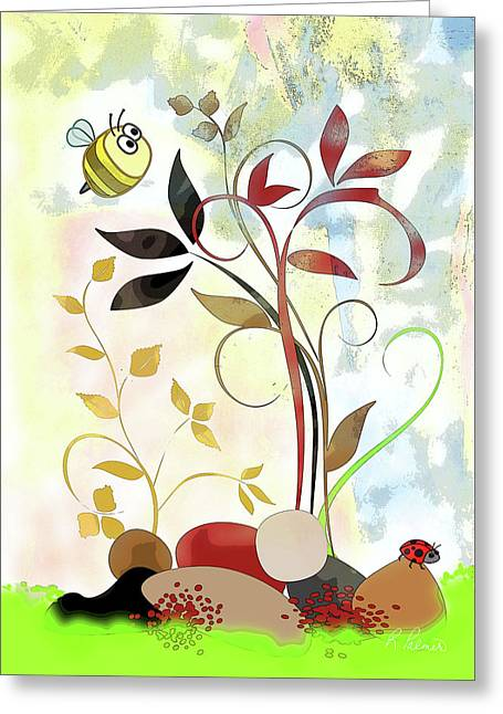 Paintng Greeting Cards - The Bee And The Ladybug Greeting Card by Ruth Palmer