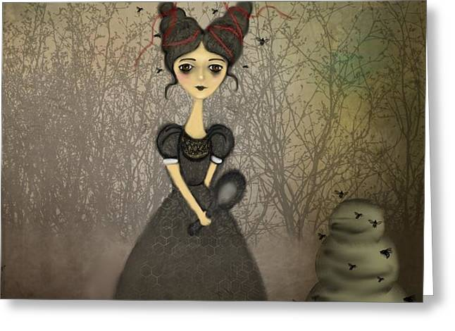 The Bee Keeper Greeting Card by Charlene Zatloukal