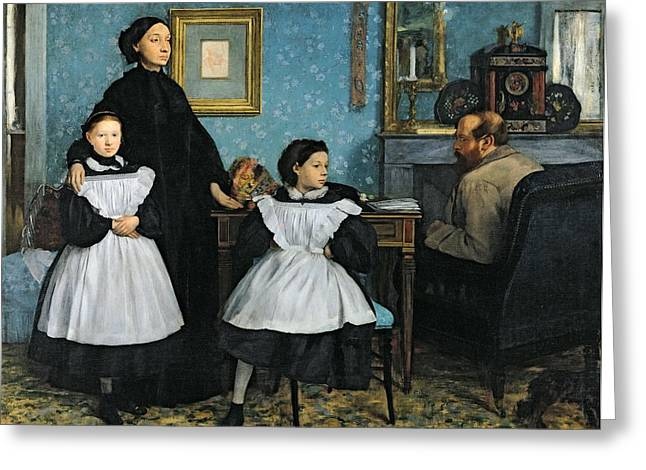 Clock Greeting Cards - The Bellelli Family Greeting Card by Edgar Degas