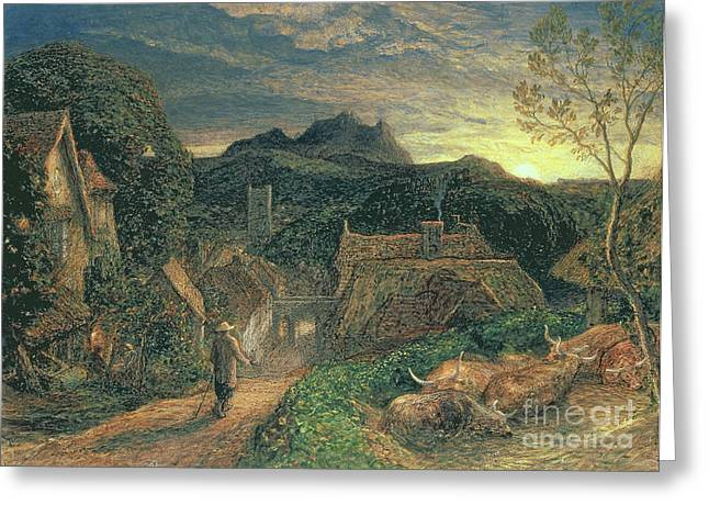 Thatch Greeting Cards - The Bellman Greeting Card by Samuel Palmer