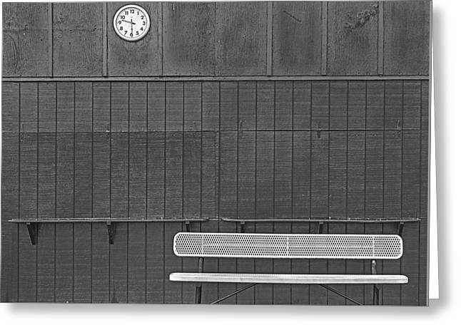 Number Circle Greeting Cards - The Bench at 930am Greeting Card by KM Corcoran