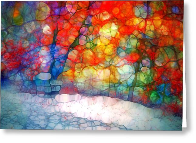 Forest Floor Digital Art Greeting Cards - The Bench at First Snow Greeting Card by Tara Turner