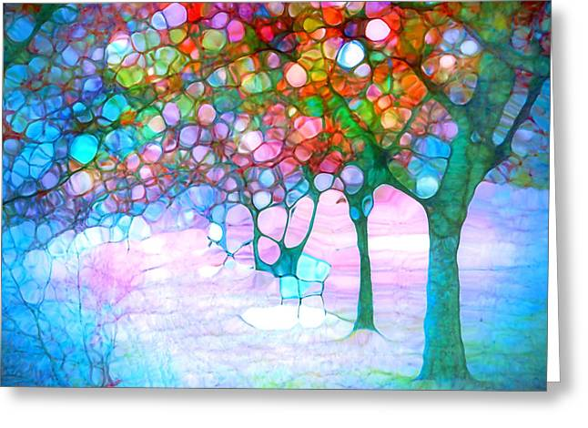 Distortion Greeting Cards - The Bench Beneath my Daydreams Greeting Card by Tara Turner
