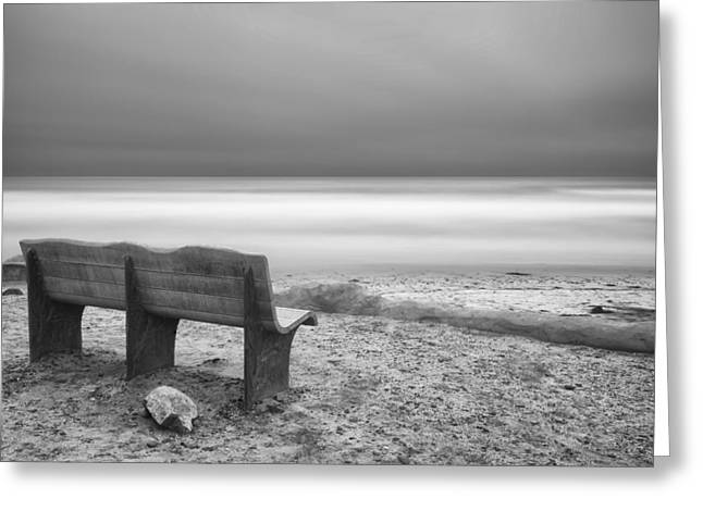 Sand Art Greeting Cards - The Bench Greeting Card by Larry Marshall
