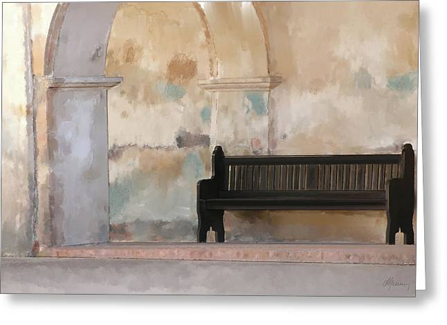 Old Town Mixed Media Greeting Cards - The Bench Greeting Card by Michael Greenaway
