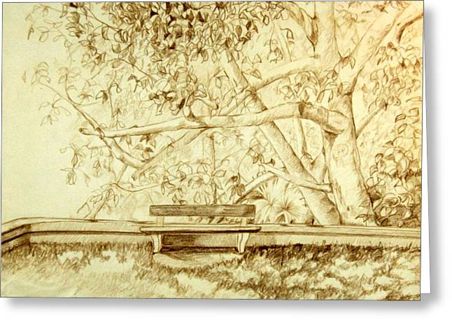 Park Benches Drawings Greeting Cards - The Bench Greeting Card by Susan Fowler