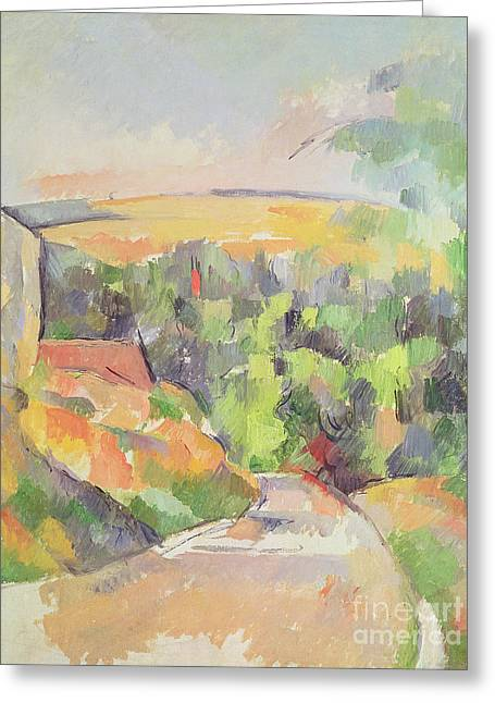 Highway Greeting Cards - The Bend in the Road Greeting Card by Paul Cezanne