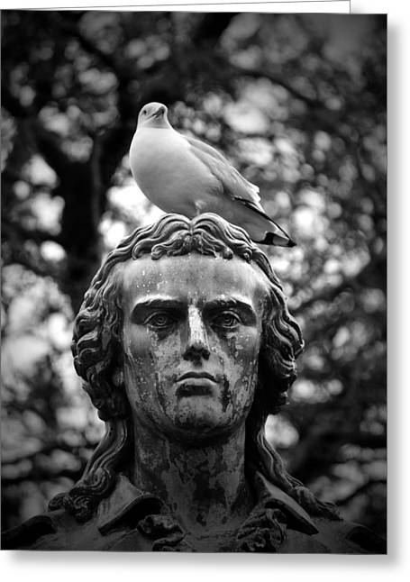 Historic Statue Greeting Cards - The Best Perch in Chicago B n W Greeting Card by Richard Andrews