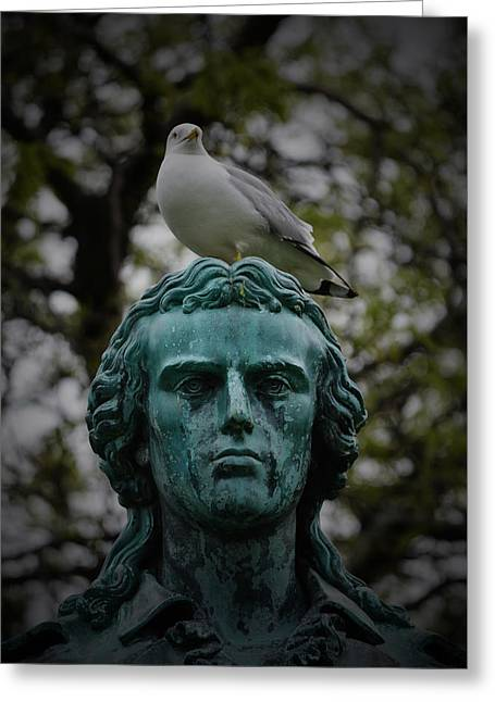 Statue Portrait Greeting Cards - The Best Perch in Chicago Greeting Card by Richard Andrews