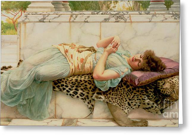 Leopard Skin Greeting Cards - The Betrothed Greeting Card by John William Godward