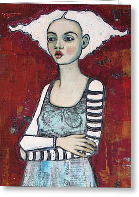 Female Paintings Greeting Cards - The Better To Hold You With Greeting Card by Jane Spakowsky