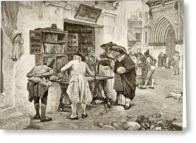 The Bibliophiles. A Bookshop In Seville Greeting Card by Vintage Design Pics