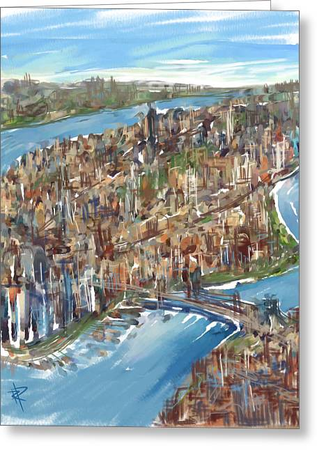 Brooklyn Bridge Mixed Media Greeting Cards - The Big Apple Greeting Card by Russell Pierce