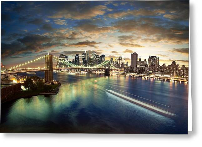 America The Beautiful Greeting Cards - The Big Apple Greeting Card by Zarija Pavikevik