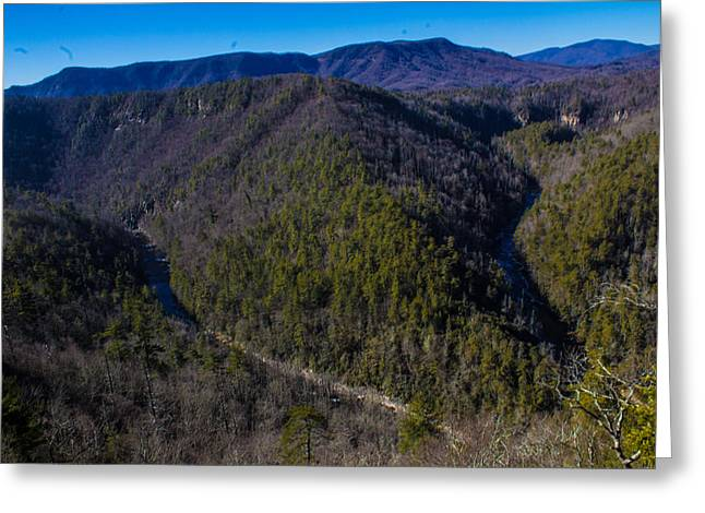 Blue Ridge Pyrography Greeting Cards - The Big Bend Greeting Card by Dillon Senn