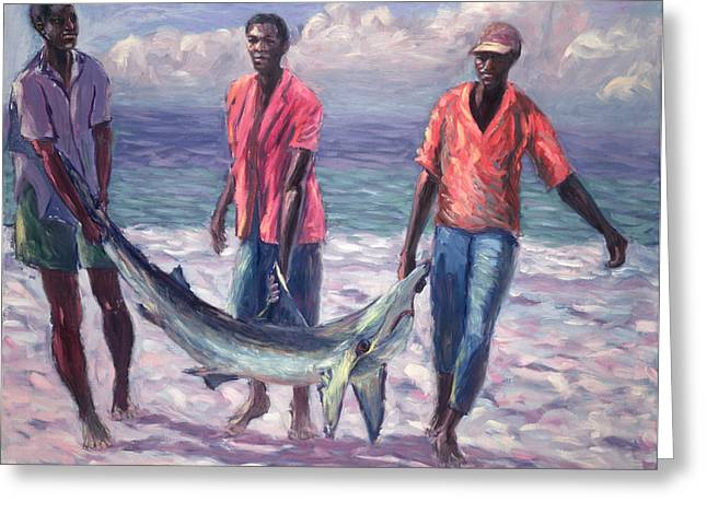 African-american Paintings Greeting Cards - The Big Catch Greeting Card by Carlton Murrell