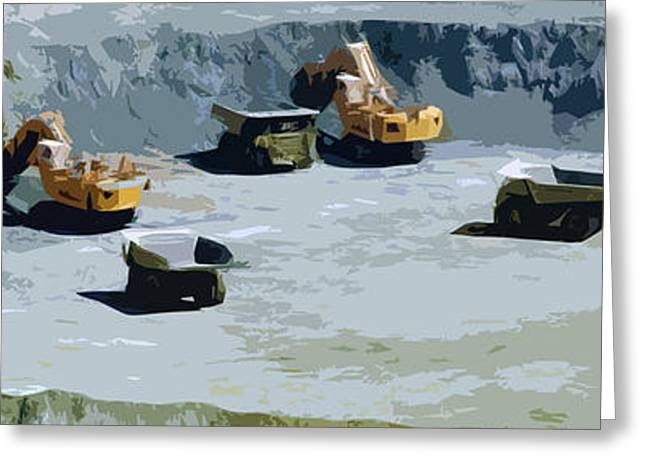 Mine Pit Greeting Cards - The Big Dig Greeting Card by Phill Petrovic