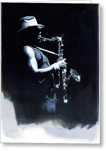Clarence Clemons Paintings Greeting Cards - The Big Man Greeting Card by David Farren