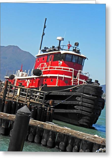 Boat Slip Greeting Cards - The Big Red Tug Greeting Card by Elizabeth Hoskinson