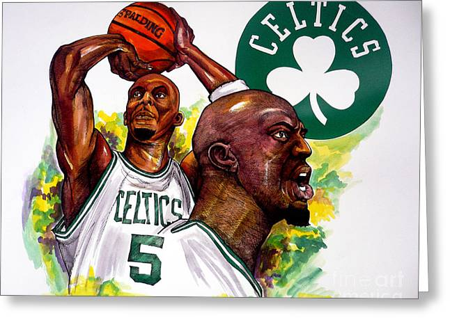 Celtics Basketball Greeting Cards - The Big Ticket Greeting Card by Dave Olsen