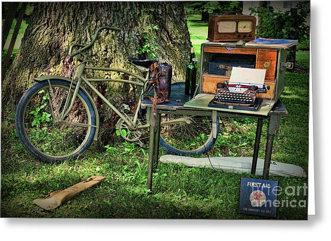 The Bike Messenger Greeting Card by Paul Ward