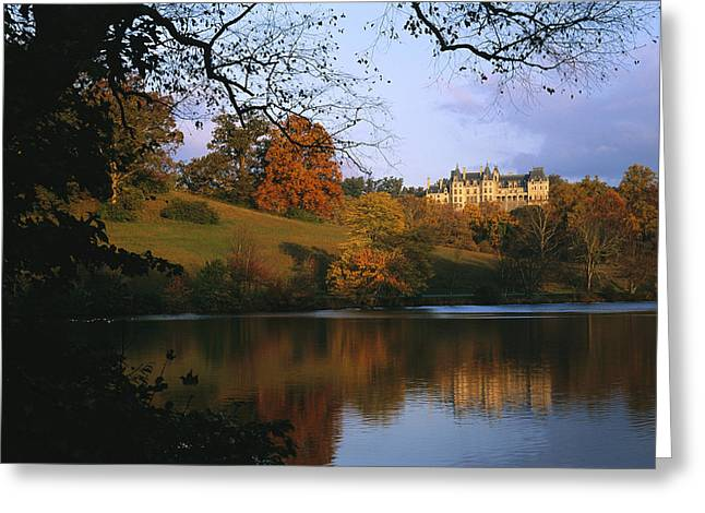 Southern Scene Greeting Cards - The Biltmore Estate Is Reflected Greeting Card by Melissa Farlow