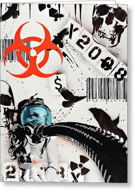 Spray Paint Mixed Media Greeting Cards - The Biohazard Bargain Barcode Greeting Card by Iosua Tai Taeoalii