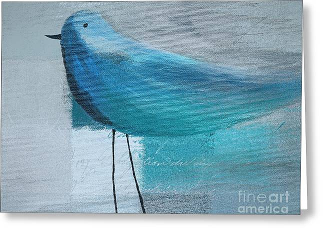 Cubist Paintings Greeting Cards - The Bird - Blue-03cb Greeting Card by Variance Collections