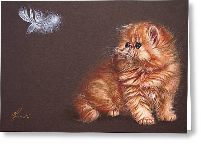 Cat Drawings Greeting Cards - The bird lover Greeting Card by Elena Kolotusha