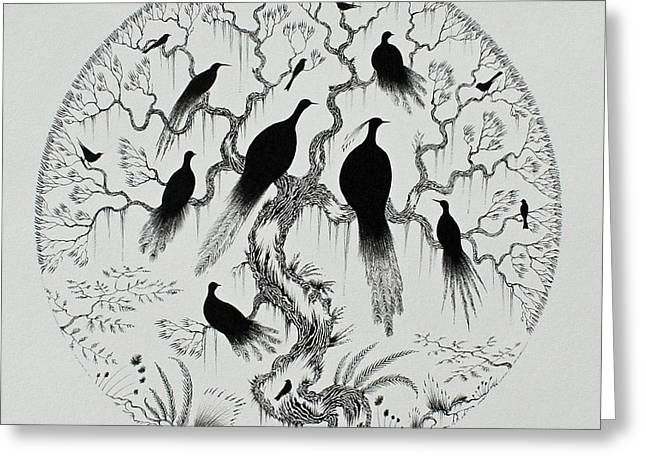 Pen And Ink Drawing Greeting Cards - The Birds Greeting Card by Jamie Patterson