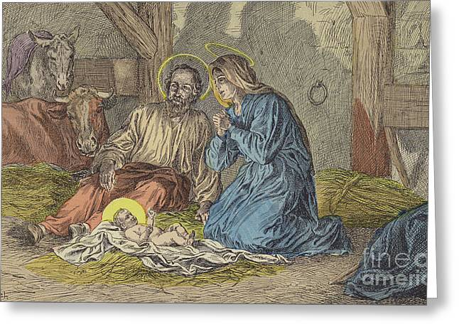 The Birth Of Jesus Christ  Greeting Card by French School