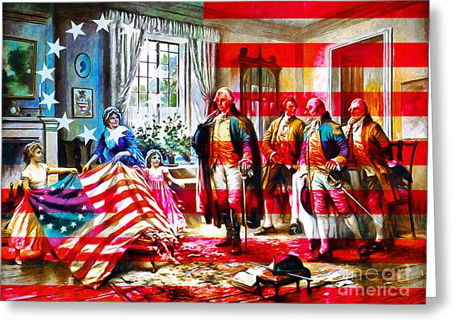 Betsy Ross Greeting Cards - The Birth Of Old Glory With Flag 20150710 Greeting Card by Wingsdomain Art and Photography
