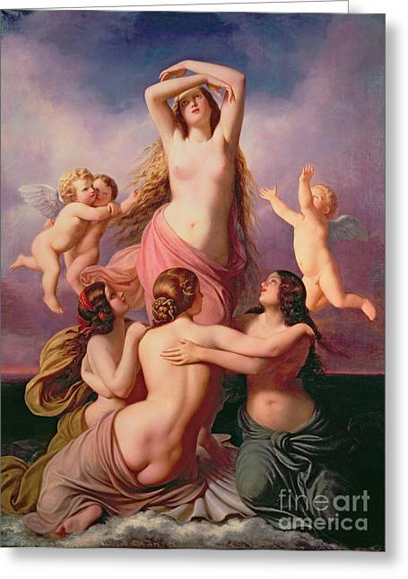 The Birth Of Venus Greeting Card by Eduard Steinbruck