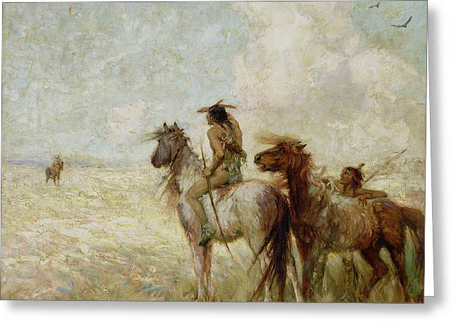 Bison Paintings Greeting Cards - The Bison Hunters Greeting Card by Nathaniel Hughes John Baird