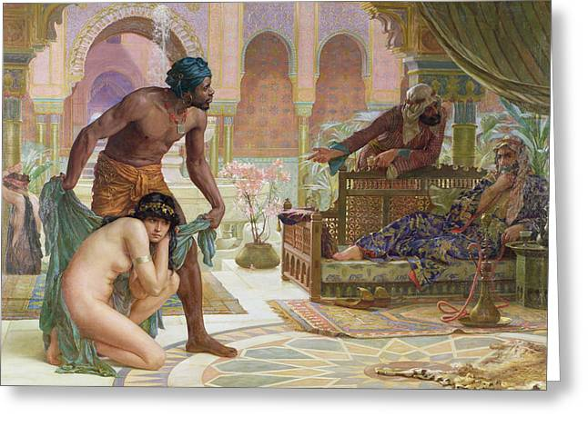 Harem Paintings Greeting Cards - The Bitter Draught of Slavery Greeting Card by Ernest Normand