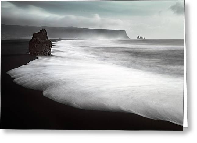 The Black Beach Greeting Card by Liloni Luca
