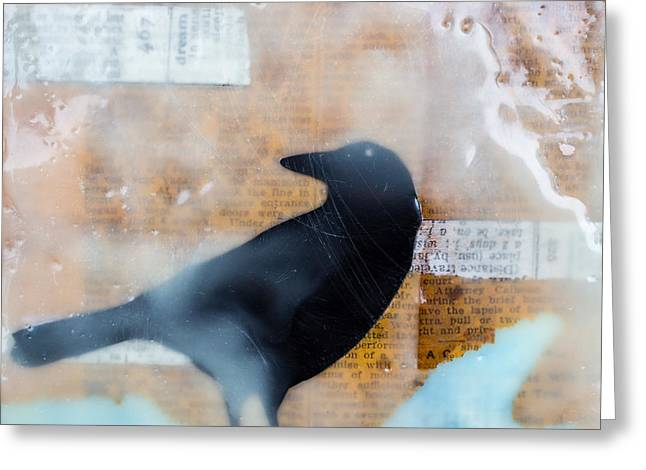 The Black Crow Knows Mixed Media Encaustic Greeting Card by Edward Fielding