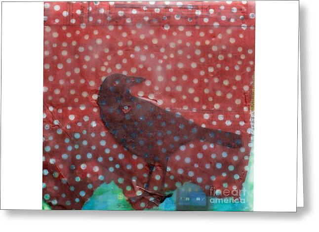 Encaustic Greeting Cards - The Black Crow Knows Snowfall Encaustic Mixed Media Greeting Card by Edward Fielding