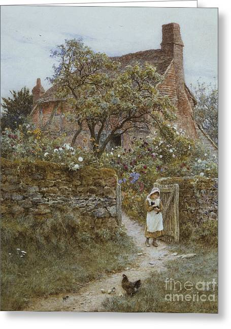 19th Century Architecture Greeting Cards - The Black Kitten Greeting Card by Helen Allingham