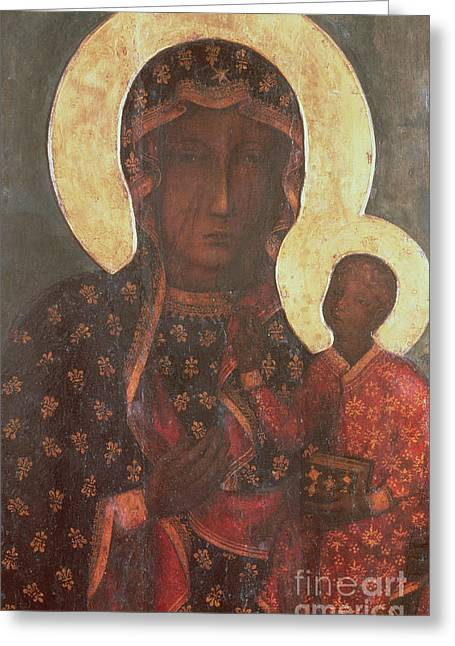 Holy Icons Greeting Cards - The Black Madonna of Jasna Gora Greeting Card by Russian School