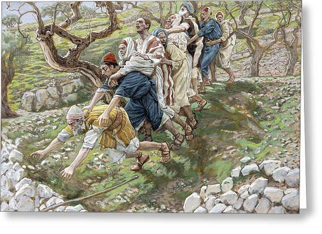 Best Sellers -  - The Followers Greeting Cards - The Blind Leading the Blind Greeting Card by Tissot