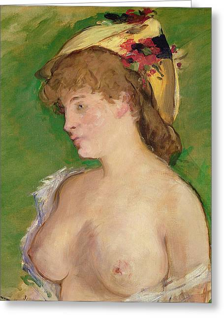 1878 Paintings Greeting Cards - The Blonde with Bare Breasts Greeting Card by Edouard Manet