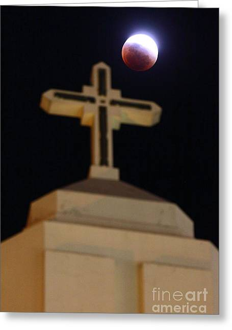Coloured Greeting Cards - The Blood Moon Prophecies Greeting Card by James Brunker
