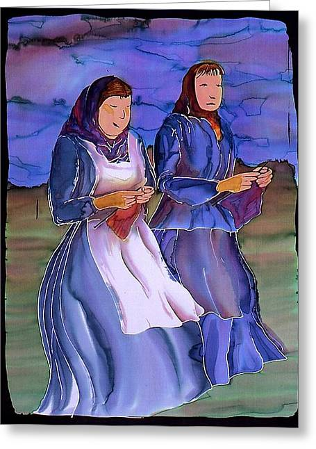 Lady Tapestries - Textiles Greeting Cards - The Blowing Skirts of Ladies Greeting Card by Carolyn Doe