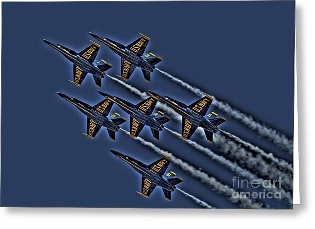 Plane Greeting Cards - The Blue Angels Greeting Card by Corky Willis Atlanta Photography