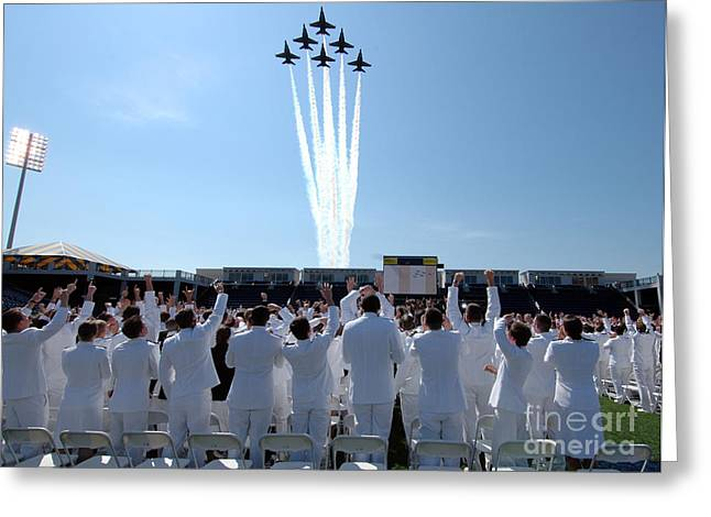 the Blue Angels fly over the USNA graduation ceremony Greeting Card by Celestial Images